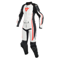 ASSEN 2 PCS LADY SUIT - WHITE/BLACK/FLUO-RED
