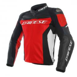 RACING 3 LEATHER JACKET - RED/BLACK/WHITE