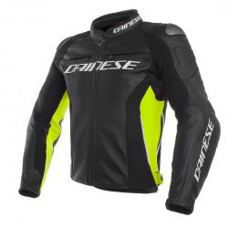 RACING 3 LEATHER JACKET - BLACK/BLACK/FLUO-YELLOW