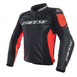RACING 3 LEATHER JACKET - BLACK/BLACK/FLUO-RED