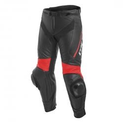 DELTA 3 LEATHER PANTS - BLACK/BLACK/FLUO-RED