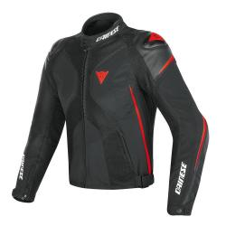 SUPER RIDER D-DRY JACKET - BLACK/BLACK/RED-FLUO