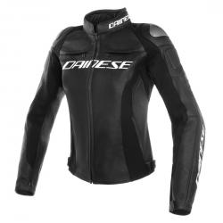 RACING 3 LADY LEATHER JACKET - BLACK/BLACK/BLACK