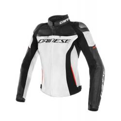 RACING 3 LADY LEATHER JACKET - WHITE/BLACK/RED