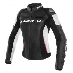 RACING 3 LADY LEATHER JACKET - BLACK/WHITE/FUCHSIA