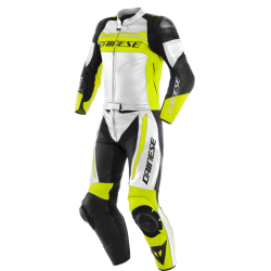 MISTEL 2PCS LEATHER SUIT - WHITE/FLUO-YELLOW/BLACK