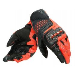 CARBON 3 SHORT GLOVES - BLACK/FLUO-RED