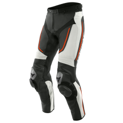 ALPHA LEATHER PANTS - WHITE/BLACK/FLUO-RED
