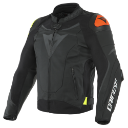 VR46 VICTORY LEATHER JACKET - BLACK/FLUO-YELLOW